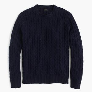 J. CREW 100% Lambswool Navy Cable Knit Sweater M